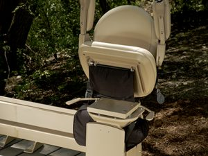 Bruno Outdoor Curve Stair Lift Folded Up Seat